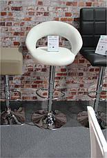 Барный стул BCR-103 белый кожзам, хромированный металл, фото 2