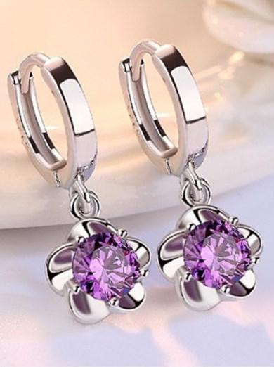 Серебряные серьги Цветок Пиона с цирконом