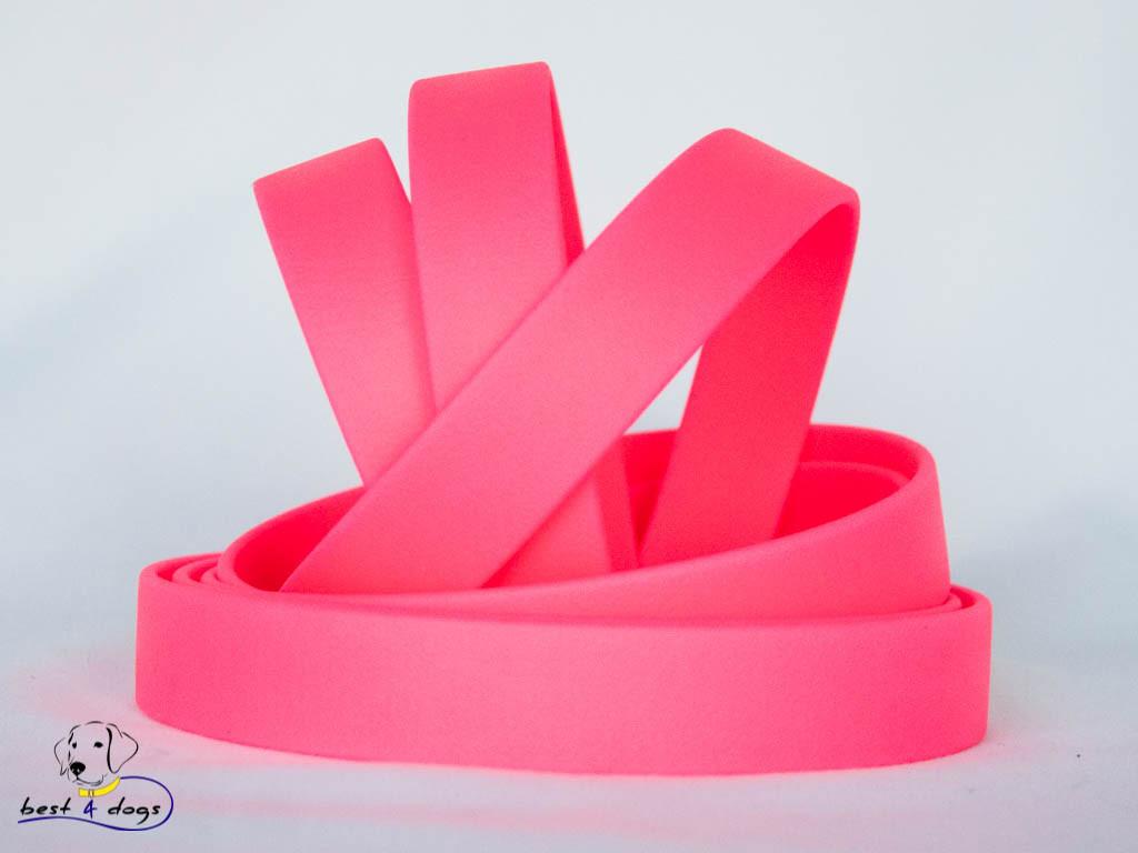 Поводок из биотана(Biothane) Розовый Неон 16мм