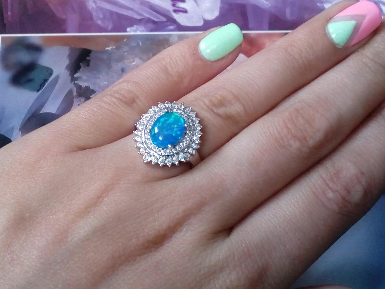 Огненный опал кольцо в серебре. Кольцо с опалом 15 размер.