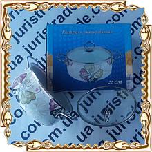 Кастрюля 4,5 л (22 см.) Emilia нерж ручки,стекл.крышка,коробка эмаль