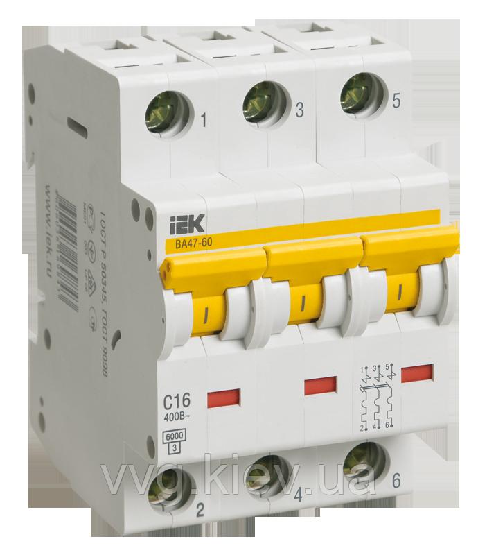 Автоматический выключатель ВА 47-60 3Р 20А 6 кА С IEК