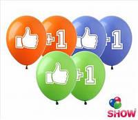 """Воздушные шарики """"Лайк+1""""  шелкография 12"""" (30 см)  ТМ Show"""