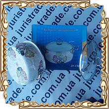 Кастрюля 5,5 л (24 см.) Emilia нерж ручки,стекл.крышка,коробка эмаль