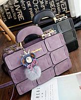 Шикарная деловая сумка кожаная с мраморным оттенком брелком помпоном Необычный оригинальный дизайн Код: КГ5270