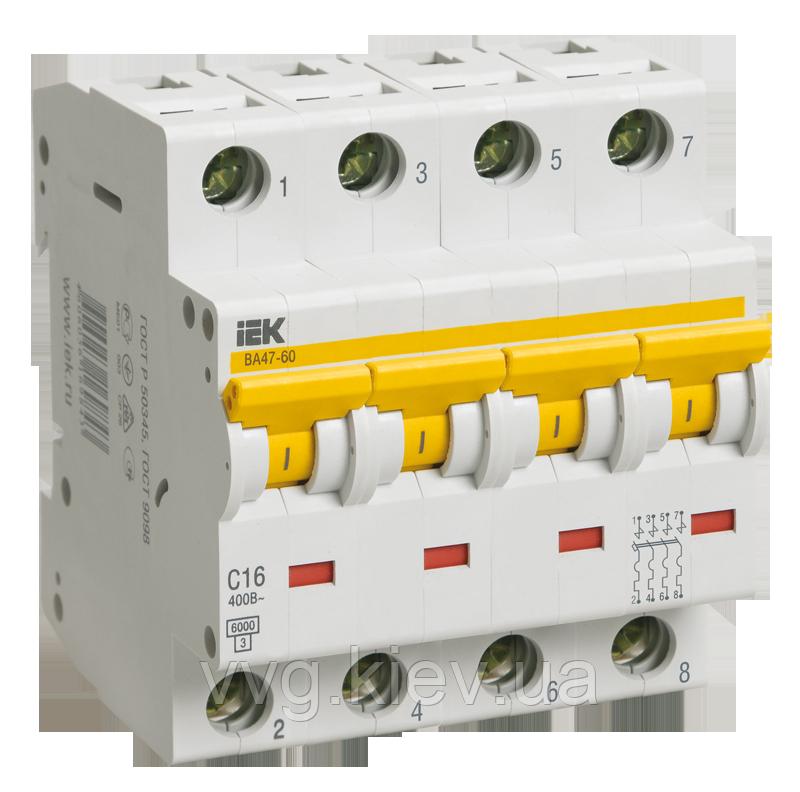 Автоматический выключатель ВА 47-60 4Р 40А 6 кА С IEК
