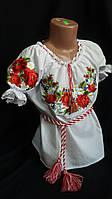 Блуза с вышивкой на поплине, рост 98-146 см., 270/230 (цена за 1 шт. + 40 гр.), фото 1