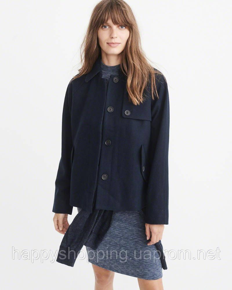 Женское стильное темно-синее шерстяное пальто Abercrombie & Fitch