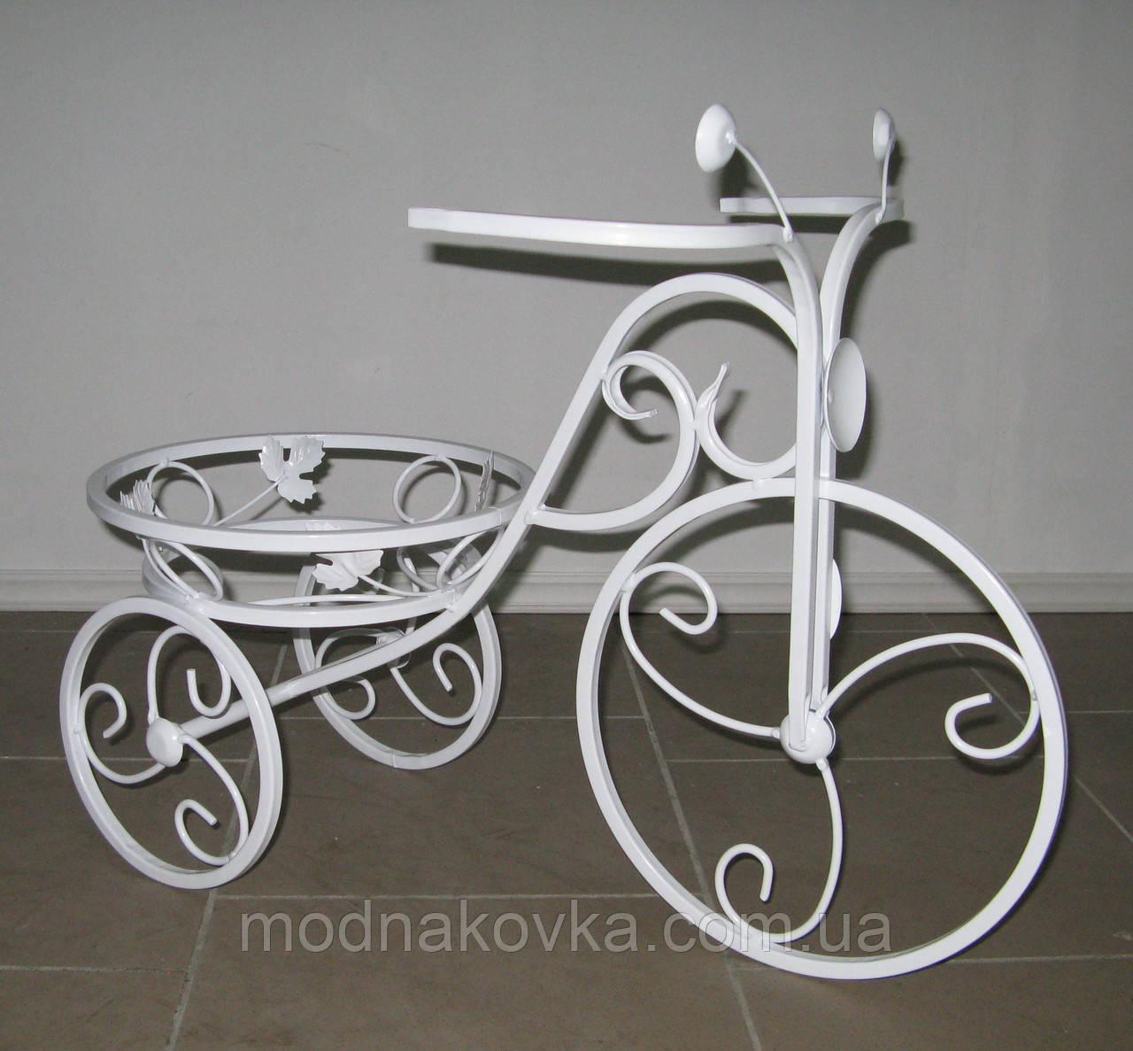 Кованая подставка для цветов Велосипед 1 малый белый