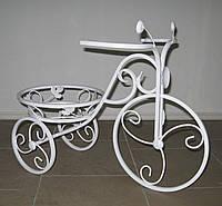 Кованая подставка для цветов Велосипед 1 малый белый, фото 1