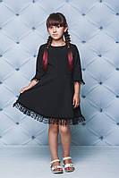 Платье школьное с рюшами черное, фото 1