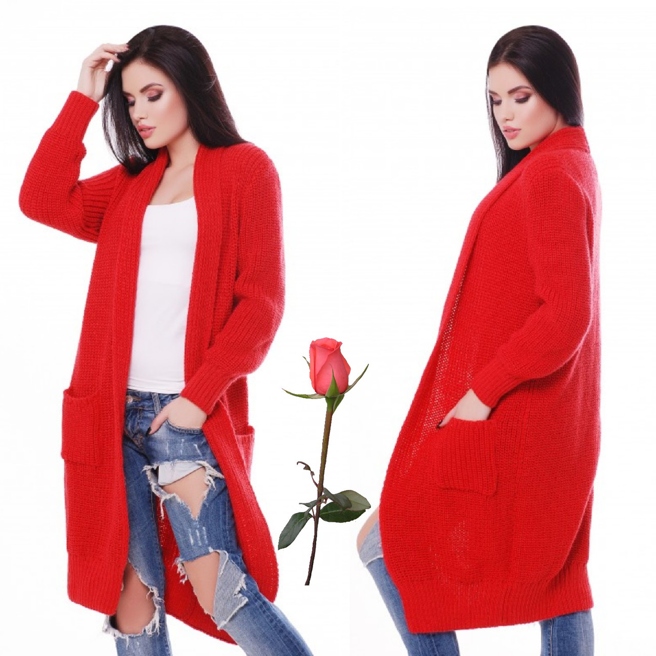 Мягкий удлиненный кардиган  L 2096 -   Красный