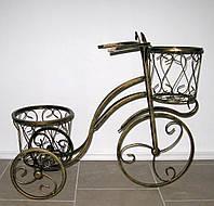 Подставка для цветов кованая на 2 вазона Велосипед высокий, фото 1