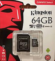 Карта памяти микро SDXC Kingston 64 гб класс 10 UHS-1 с адаптером