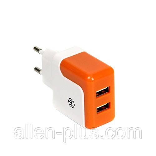 Адаптер питания (USB зарядка) HAVIT HV-UC309, white/orange, 2.1А (Реальных 2.1 Ампера!)