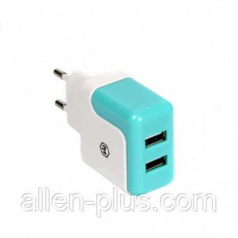 Адаптер питания (USB зарядка) HAVIT HV-UC309, white/blue, 2.1А (Реальных 2.4 Ампера!)