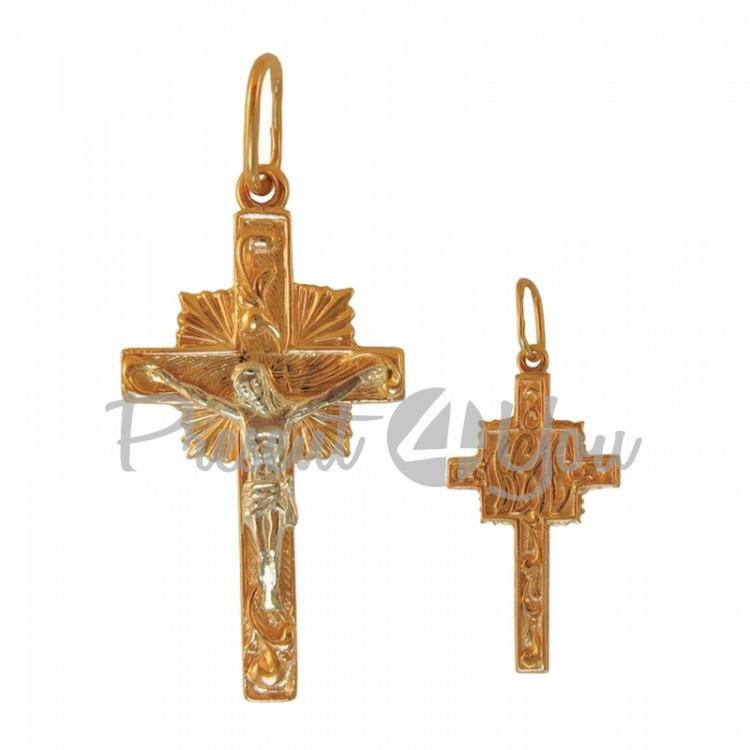 Золотой кулон крестик Иисус - 3,52 г (KR005u)