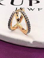 Серьги-кольца женские. Медицинское золото. Код:3631