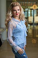 Блузка из прозрачной сетки голубая, фото 1