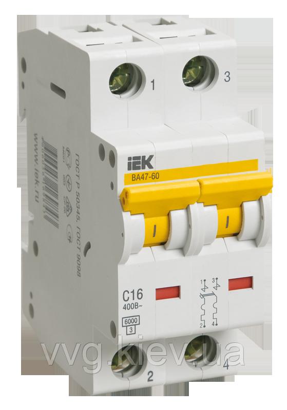 Автоматический выключатель ВА 47-60 2Р 16А 6 кА D IEК