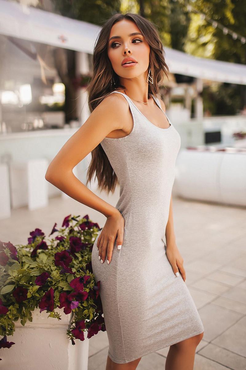 (S, M) Повсякденне зручне сіре плаття