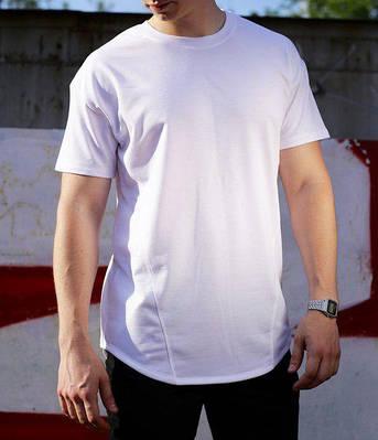 Футболка мужская белая удлиненная Фриман (Freeman) от бренда ТУР размер XS, S, M, L, XL