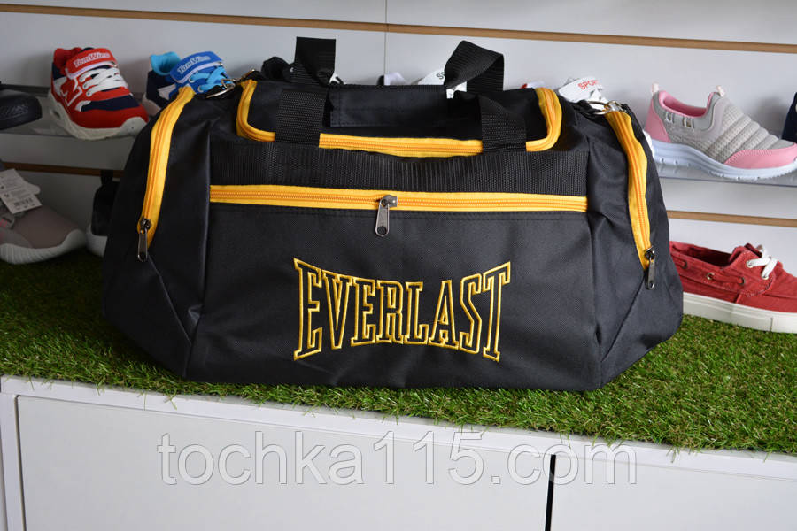 Мужская спортивная сумка черная желтая everlast, копия