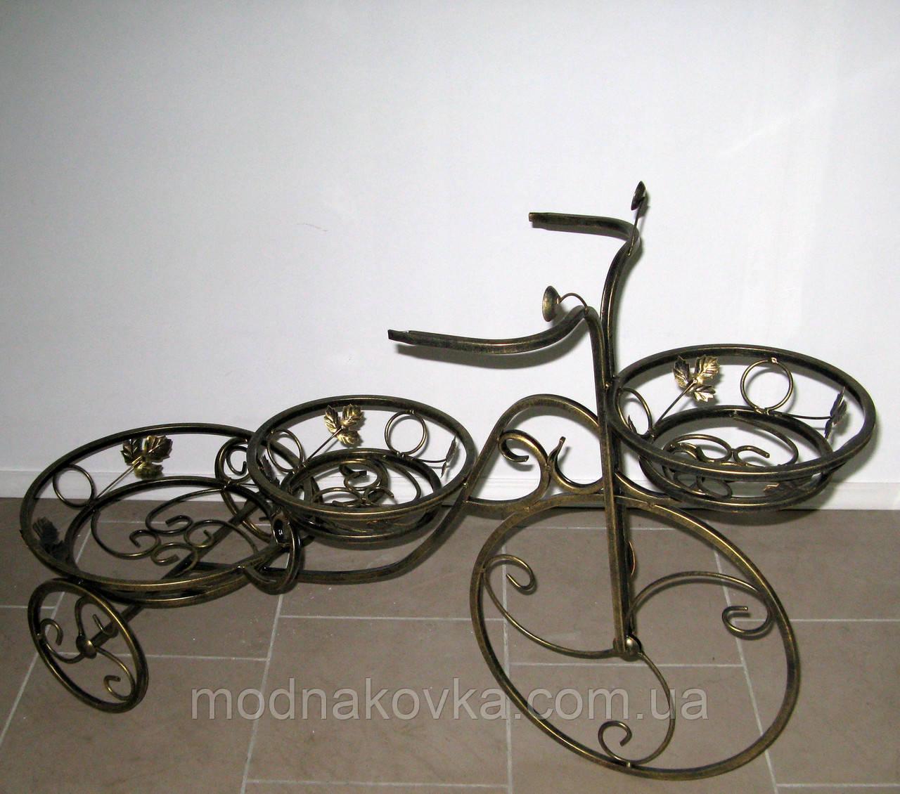 Кованая подставка для цветов Велосипед 3 большой