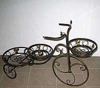 Кованая подставка для цветов Велосипед 3 большой, фото 1
