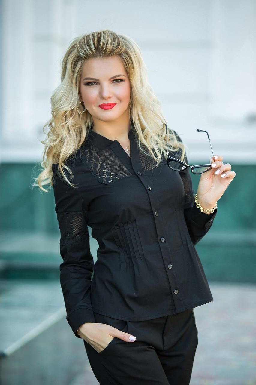 Черная Рубашка с кружевными вставками
