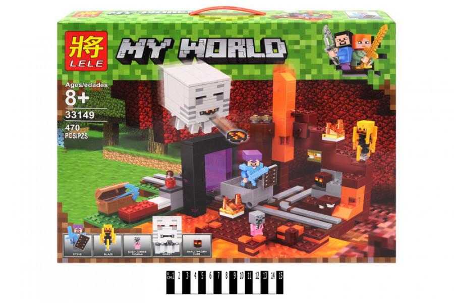 Конструктор LELE MY WORLD Портал в Подземелье 33149 (Аналог Lego Minecraft 21143) 470 дет. (Майнкрафт)