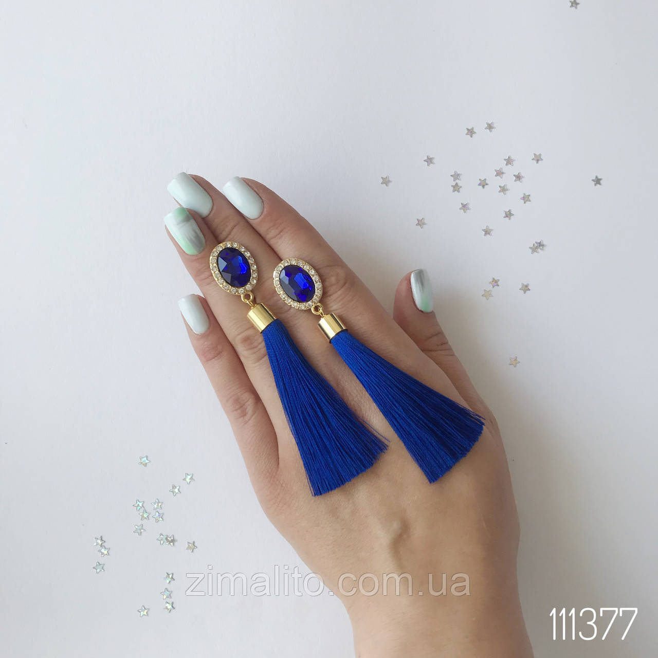 Серьги кисти Анна синие с камнем и стразами