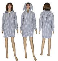 NEW! Новый модельный ряд молодежных женских халатов с ушками - теперь из флиса - Зайчик Fleece Light Grey!