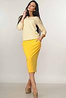 Зауженная юбка длиной ниже колена - миди, по бокам два кармашка 42-52 размера, фото 1