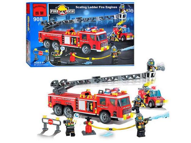 Конструктор BRICK 908 Пожежна тривога, 607 елементів, в коробці, 48-32-6,5 см