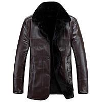 Мужская удлиненная кожаная куртка  2 цвета , фото 1