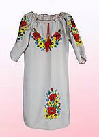 """Платье женское с вышивкой """"Подсолнухи"""" больших размеров (2805/29) , фото 1"""