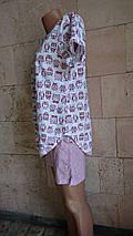 Хлопковая женская пижама с футболкой и шортами принт Совы 42-56 р, фото 3