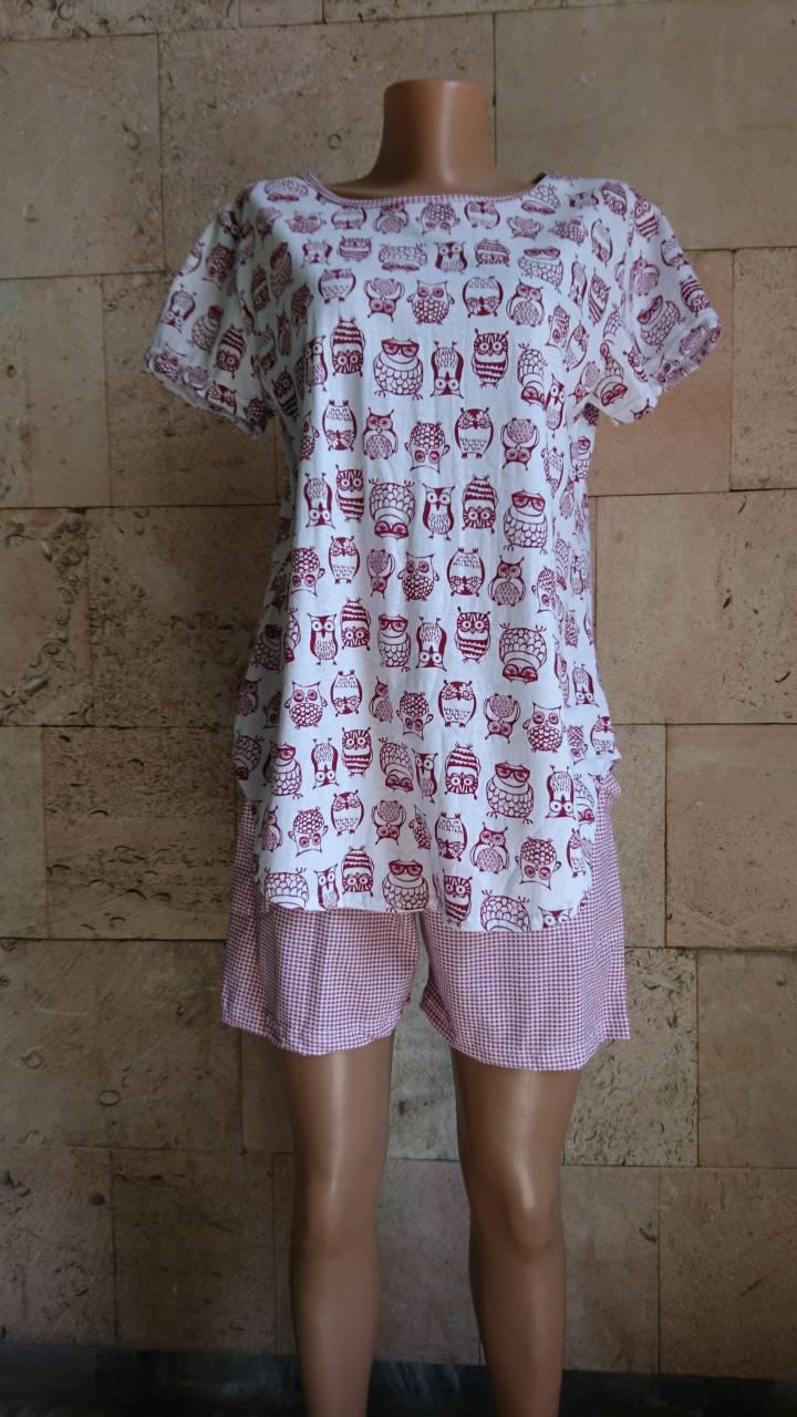 Хлопковая женская пижама с футболкой и шортами принт Совы 42-56 р