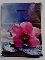 Пакет с прорезной ручкой 35х45/50мкм (Цветок любви), 50шт/уп