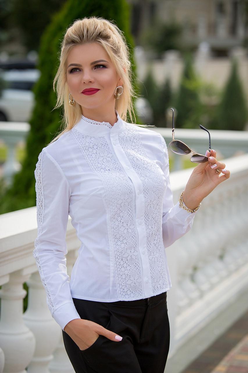 Нарядная белая Рубашка с кружевом