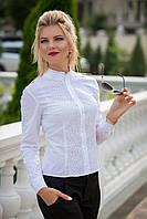 Нарядная белая Рубашка с кружевом, фото 1
