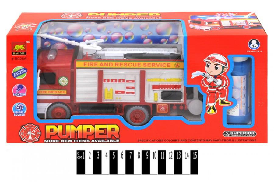 Пожарная машина  на батарейках, сирена,  мыльные пузыри В928А