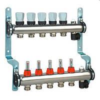 Колектор Rossweiner на 10 контурів для систем підлогового опалення з витратомірами
