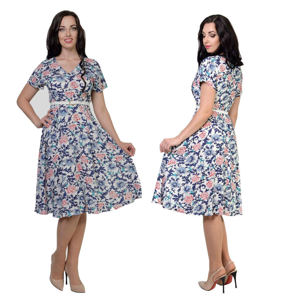 Платье Флоренс, выполнено из ткани набивной штапель, 46,48,50,52
