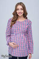 Стильная клетчатая блузка для беременных и кормящих SHADE NEW, сине-красная клетка 1, фото 1