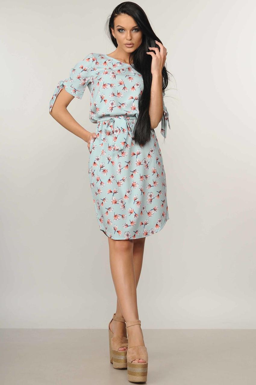 511e2cb76c6 Летнее повседневное платье свободного кроя с цветочным принтом 42-52  размера ледяная мята 48