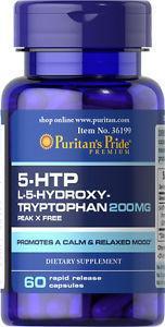 Puritan's Pride 5-HTP 200 mg, 5-гідроксітріптофан, Антидепресант (60 капс.)