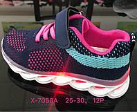 Детские кроссовки с подсветкой для девочек оптом Размеры 25-30