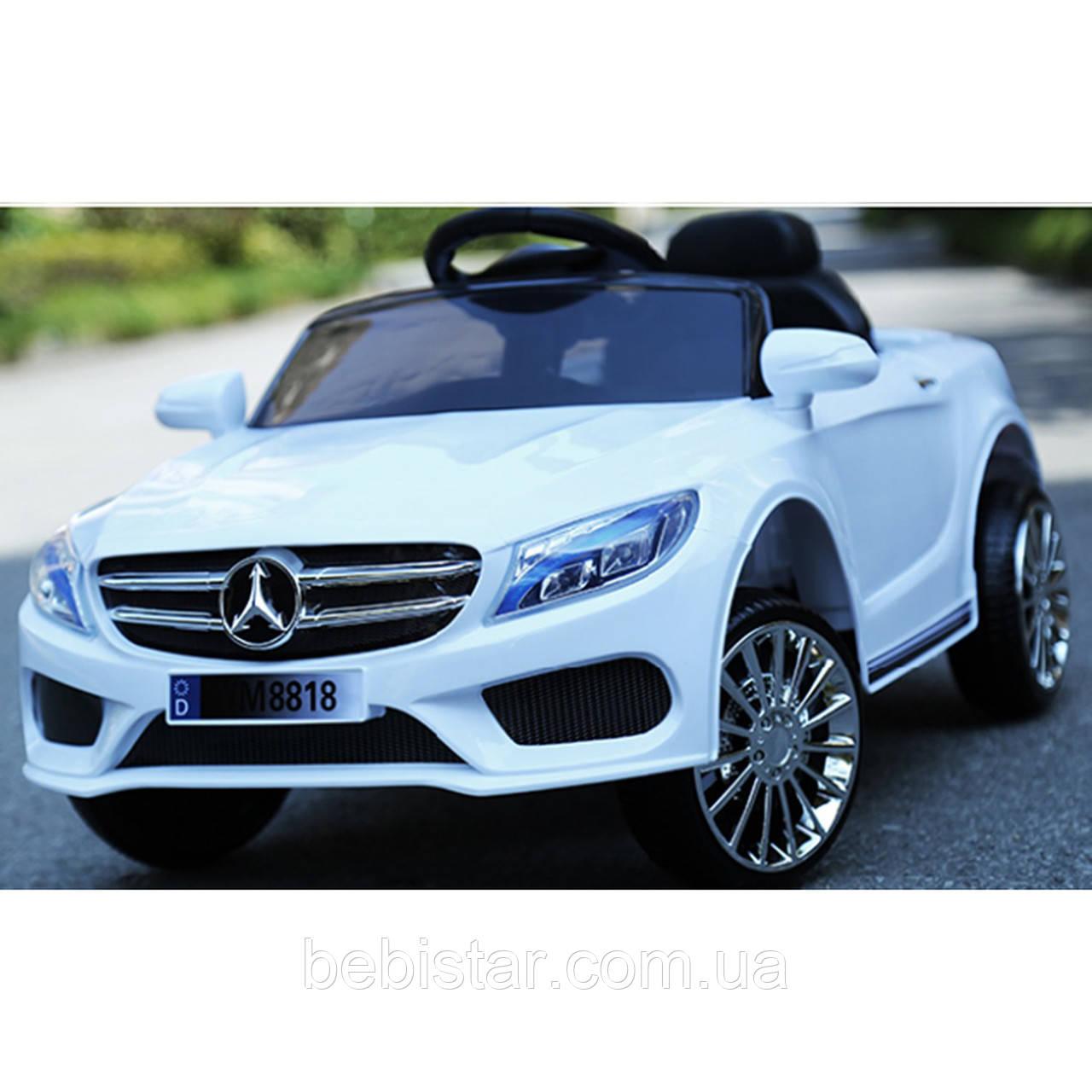 Электромобиль-спорткар белый T-7620 White для деток 3-8 лет с MP3